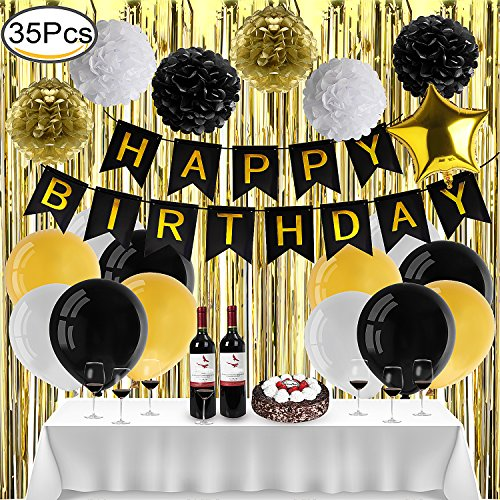Outee Geburtstagsfeier Dekorationen Bevorzugungen, Happy Birthday Bunting Banner mit 6 Tissue Papier Pom Poms 24 Helium Qualität Latex Ballons Weiß Tischdecke Gold Vorhänge und Aluminium Folie Fünf-Spitz Star Ballon, Party (Party Supplies Star)