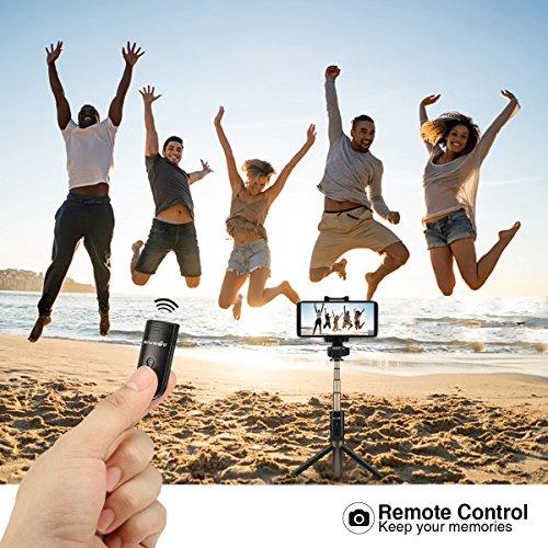 Bluetooth Selfie Stick Stativ, BlitzWolf Selfie-Stange Stab mit Bluetooth-Fernauslöse für iPhone X/ 8/ 7/ 7 plus/ 6s/ 6 Android Samsung Galaxy 3.5-6 Zoll Bildschirm- 3 in 1 Erweiterbar Monopod Mini Pocket Wireless Selfie Stick 360° Rotation (schwarz) - 6