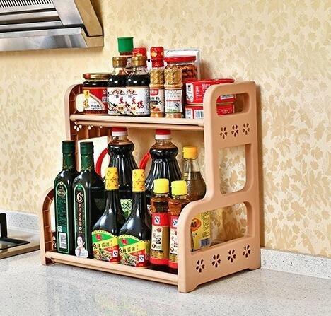 uctop Kunststoff Küche Regal Desktop Speicher Badezimmer Waschanlage Placement 2Etagen Draht Regal Innen WC-Spüle Ecke Organizer Regal (Kaffee) -