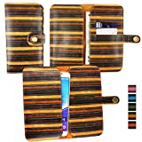 emartbuy® Brun Rayures Vintage Étui Coque Case Cover en Cuir PU (Size 5XL) avec Fermeture Magnétique Bouton Adapté pour aPhone E6 5 inch Smartphone
