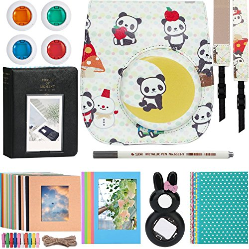 Katia Sofortbildkamera Instax Mini 8 / 8+ / 9 Zubehör Bundles Set 11 für Fujifilm Instax Mini 8 / 8s - Case Bag / Filmalbum / Close Up Selfie Objektiv / Filter / Kamerariemen / Fotorahmen / Aufkleber / Aufhänge / Pen (Panda)