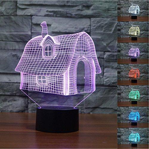 Optische LED Täuschung Nachtlicht,HAIYU 7 Farbwech mit Acryl Flat & ABS Base & USB-Ladegerät ändern Berühren Sie Botton Schreibtisch lampe (Fuchs Und Hund Halloween)