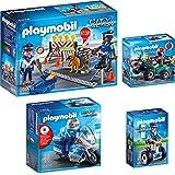 Playmobil Policia Set: 6876 Policía en moto con luz LED + 6877 Policía con Balance Racer + 6878 Control policial + 6879 Ladrón con Quad y botín