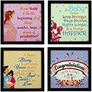 Indianara 4 Piece Set of Framed Wall Hanging Baby Shower Decor Art Prints (1195) 8.7 inch X 8.7 inch Without G
