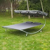 Outsunny Double Hammock Sun Bed Lounger Chaise w/ Canopy and Wheels Garden Outdoor Patio Furniture (Grey)
