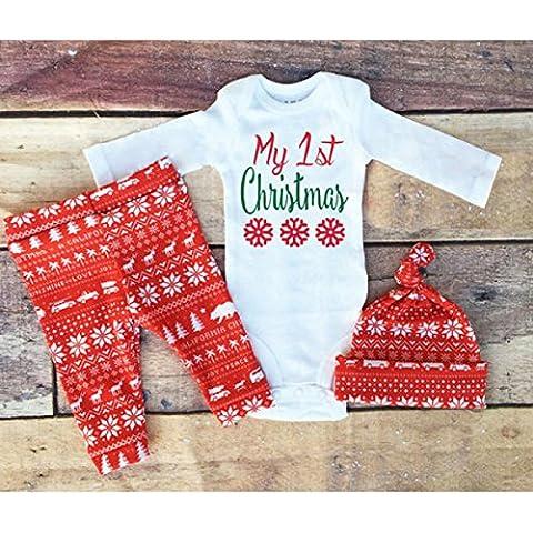 Merssavo Regalo de Navidad de los Niños de Explosiones Conjunto 3 Piezas de Cornamentas en Pantalones Largos de Algodón Estampado Manga Larga Sombrero 100Cm