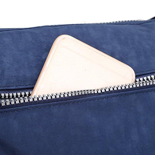Borsa a secchiello a tracolla e da spalla in nylon impermeabile, in stile casual, con multi tasche Purple