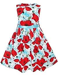 Mädchen Kleid Blau Blume Drucken
