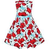 Sunny Fashion Vestito Bambina Rosso Fiore Cintura Sole Estate Spiaggia 9-10 Anni