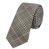 DonDon Herren Krawatte kariert 6 cm braun-schwarz
