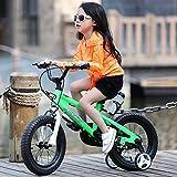 R Baby Freestyle Kinderfahrrad mit Stützrädern, Grössen 14, Weiß, inkl. Wasserflasche und Halterung, blau