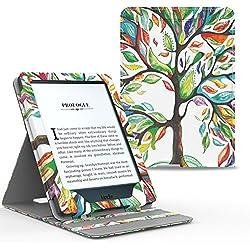 MoKo Etui Amazon Kindle Paperwhite - étui de Retournement Vertical pour Amazon Kindle Paperwhite avec rétro-éclairage (Convient à Tous Les modèles: 2012,2013,2015 et 2016), Arbre Coloré