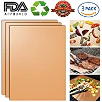 GEEKHOM Grill Mat, Non-Stick BBQ Grilling Mat Durable Reusable and Easy to Clean for Barbecue Gas Charcoal Electric Grill, Baking Microwave Toaster Oven Smoker (Copper, set of 3)