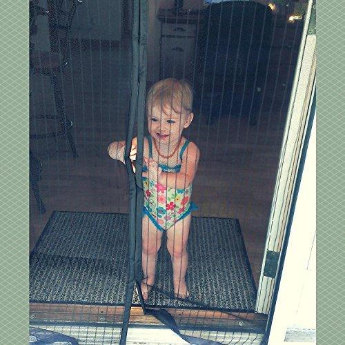 Chiusura magnetica per zanzariera porta zanzariera per protezione zanzariera - facile da attaccare senza foratura tenda estiva per balconi scorrevoli salotto camera per bambini 90x210, nero (black 90*210cm)