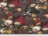 ab 1m: Viskose Jersey, Blumen, dunkelgrau-mehrfarbig, 150cm breit