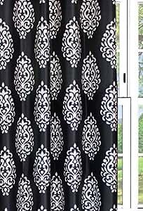 Dekor World Damask Black Fabric (Pack of 10Mtrs)