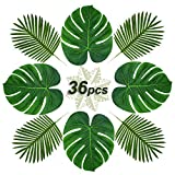 soyee 24pcs Tropical Palm Leaves and 12pcs Artificial stem Plant Leaves | Tropical Party Supplies for Hawaiian Luau Safari Party Table Decorations| Creative Real Tropical Atmosphere suit-36pcs