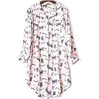 ENJOYNIGHT Women's Nightshirt Flannel Print Pyjama Top Long Sleeve Button-Front Nightdress Nightwear