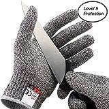 Coupez widerstandsfähige Gants pour couper et couper de Nourriture de qualité haute performance EN388certifié Niveau 5Protection Sécurité Cuisine main gants de protection, Blanc/gris, Medium