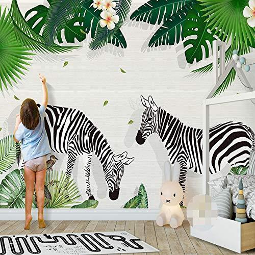 L22LW Wandbild Kinderzimmer 3 D Bild Wallpaper Kreative Hand Bemalt Zebra Grüne Blätter Kinderzimmer Dekor Wand Aufkleber Wandbild, 315 cm * 232 cm (H) (Und Zebra-wand-dekor Türkis)