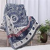 Gewebte Überwurfdecke, 100 % Baumwolle, mit Fransen, Handtuch/Steppdecke für Couch, gelb/blau, Mond/Sonne, 129,5 x 167,6cm Constellations