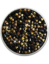 Amello Acero Inoxidable Coin circonitas Negro/Oro coinsfassung Acero joyas esc302s
