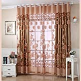 Ouneed Fashion 250cm*100cm Print Floral Voile Door Curtain Window Room Curtain Divider Scarf (Coffee)