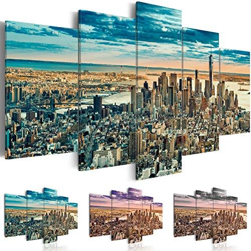 Quadro 100x50 cm - 3 Tre colori da scegliere - TOP - 5 Parti - Quadro su tela fliselina - Stampa in qualita fotografica - Citt? City New York NY Architettura d-B-0069-b-n 100x50 cm B&D XXL