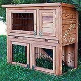 BUNNY BUSINESS Doppelter Kaninchenstall, ausziehbare Reinigungsschale, 4 Türen