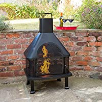 Steel Log Burner Chiminea - Stylish Chimnea For Adding Warmth In The Garden Or Patio Area