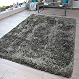TT Home - Tappeto Shaggy Flokati, Lavabile, Tinta Unita, Grigio, 160 x 220 cm