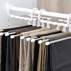 Shuban Pant Hanger - 5 in 1 Multi-Purpose Stainless Steel Trouser Pants Hangers Jeans Clothes Organizer Folding Storage Rack Space Saver Hanger Storage Rack for Hanging Clothes