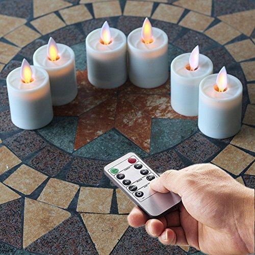 Moving Wick 1,5x 2.6INCH velas sin llama velas de té w/mando a distancia y baile llama, marfil, juego de 6