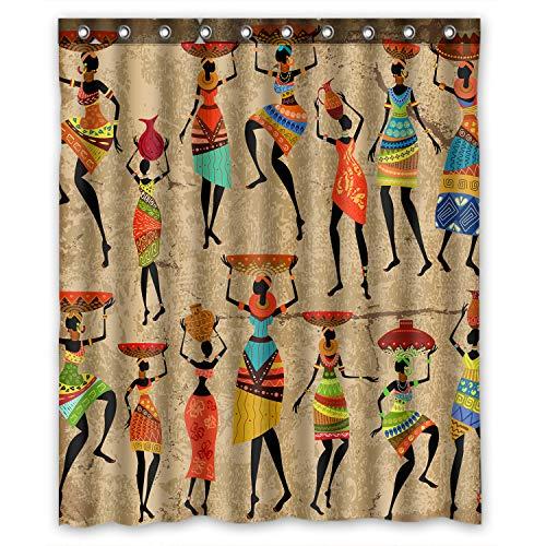 FMSHPON Afrikanische Kunst Afroamerikanische Frauen Geschichte und Kultur Wasserdichter Stoff Badezimmer Duschvorhang Größe 152,4 x 182,9 cm