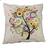 Miya@ 1 Stück hochwertige Kissenbezug super schön bund Baum, aus Baumwoll und Leinen Sofakissen couch Kissenbezug Geburtstagsgeschenk Hochzeitgeschenk Weinachtsgeschenk