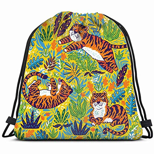 Pattern Tigers Colorful gardenbaby Drawstring Backpack Bag Gym Sack Sport Beach Daypack for Girls Men & Women Teen Dance Bag Cycling Hiking Team Training 17X14 Inch