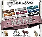LEDASS92 Hundehalsband mit Namen Strass Halsband Name Strassbuchstaben Swarovski Elements (M - 30cm - 36cm Halsumfang verstellbar, Rose)