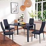 EBS® Esstisch Stuhl Set Essgruppe Tischgruppe Esstischgruppe Sitzgruppe Esszimmergarnitur: Schwarz Glas Metall Esstisch 4 Kunstleder Stuhl - 3