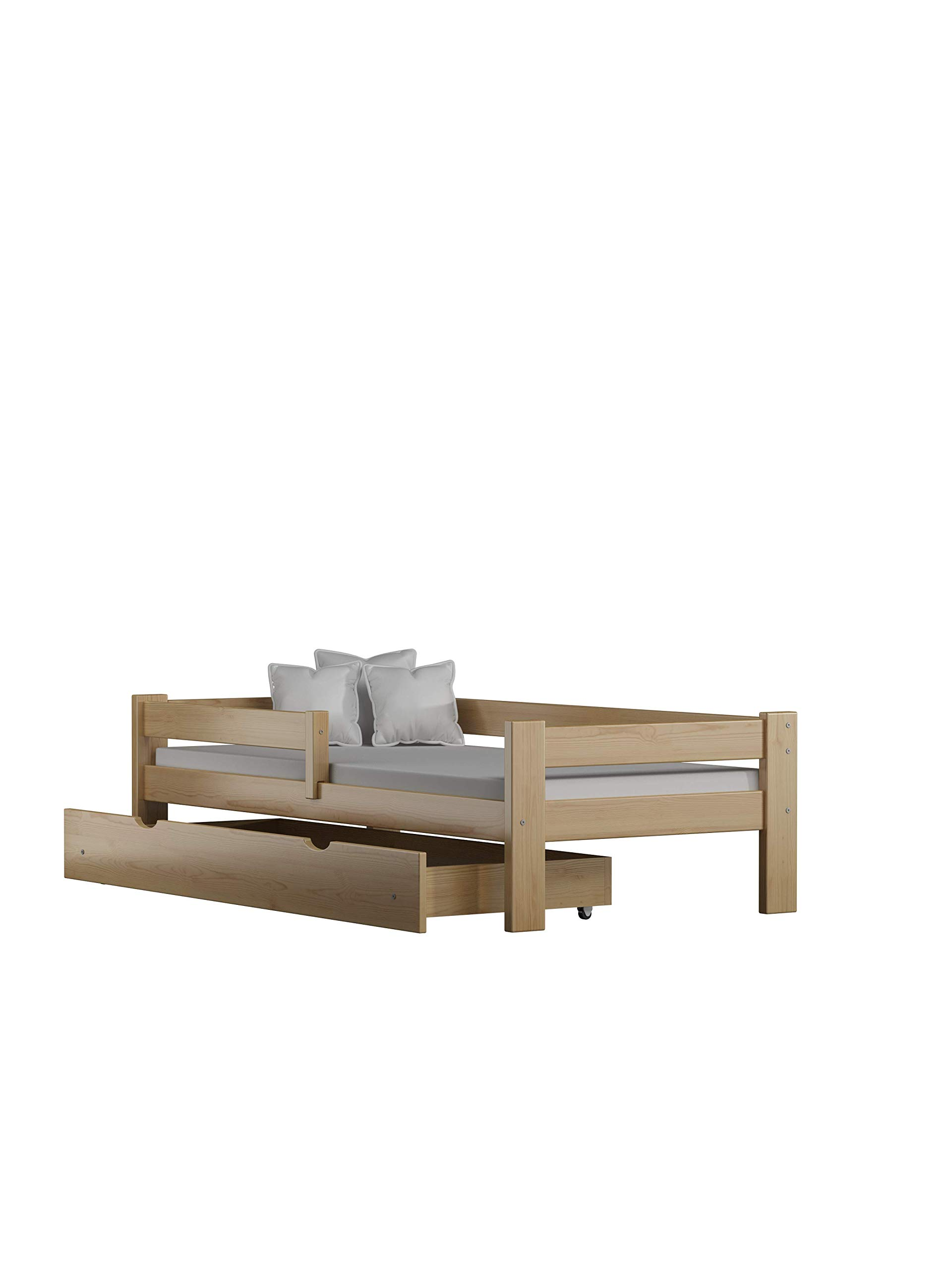 Children's Beds Home Solid Pine Wood Single Bed - Willow comes with Drawers and Foam Mattress Included (190x90, Natural) Children's Beds Home Internal Dimensions in cm's are 140x70, 160x80, 180x80, 180x90, 190x90, 200x90 (External: 147x78, 167x88, 187x88, 187x98, 197x98, 207x98) Total height up to the top of the safety barrier is 51cm Universal bed entrance - left or right side. Front barrier can also be removed at a later stage. Bed Frame has load capacity of up to 190kg 1