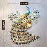 Dudu Home Dekoration Europäische Pfauen Wand Uhr Crystal Luxus Wohnzimmer Uhr Kreative Persönlichkeit Kunst Dekoration Wanduhr,Largepeacock[100Cm*80Cm]