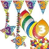 Carpeta 54-Teiliges Partydeko Set * Zahl 3 * für Kindergeburtstag Oder 3. Geburtstag mit Girlande, Rotorspiralen, Luftschlangen und Vielen Luftballons