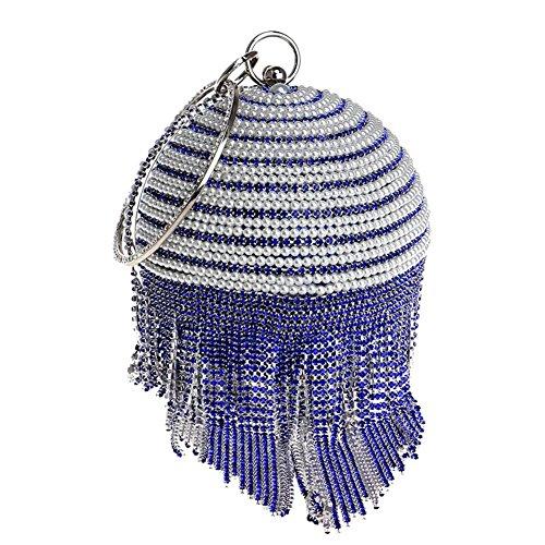 Damen Kristalle Kugelform Quasten Strasssteine Perle Abendtaschen Hochzeit Party Bankett Handtasche . 12.5 X 36 X 9 Cm blue