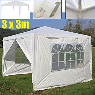 Autofather 3x 3m WASSERDICHT Outdoor Pavillon mit 4Abnehmbare Seiten 3Windows PE Garten Festzelt Canopy Zelt mit Armatur leicht zu Set Up, weiß