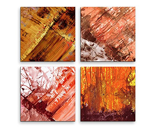 4 Bilder Set Abstrakt Terra Cotta Peach Echo Orange (Echos Bilder Und)