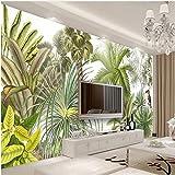 Tapete Tropischer Regenwald Grünpflanzen Handgemalte Ölgemälde Wohnzimmer Sofa Hintergrund Wandpapier XXL 300X694CM