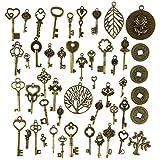 UOOOM 49 Stück DIY Retro Bronze Schlüssel Punk Deko Schmuck Anhänger Halskette Kette (Vintage Bronze-049)