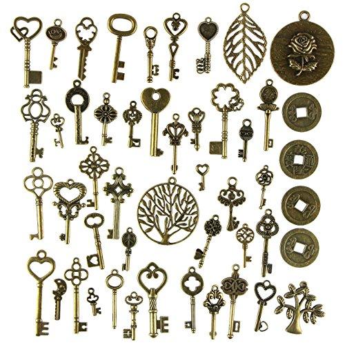uooom 49pcs Vintage Skeleton Claves En llaves de bronce antiguo candado de DIY Punk colgante de adornos Vintage Bronze-049