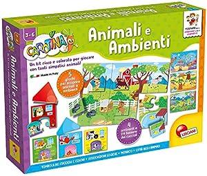 Lisciani - Juego Educativo Carotina Maxi (versión Italiana) Animales y entornos (Animali e Ambienti)