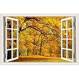 """3d ventana pegatina de pared paisaje sol árbol de arce paisaje papel pintado vinilo, W0276, 24""""X36"""""""