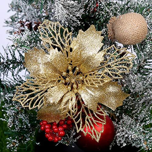 FafSgwq Glitter Christmas Hollow Flower Baum Hängen Ornament Festival Xmas Window Decor Silber